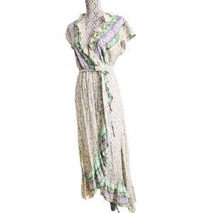 Runaway Child boho floral ruffle wrap maxi dress